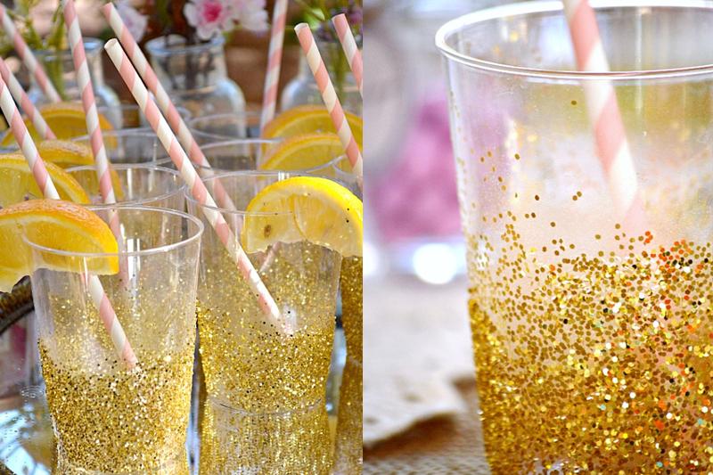copos com glitter decoracao de noivado