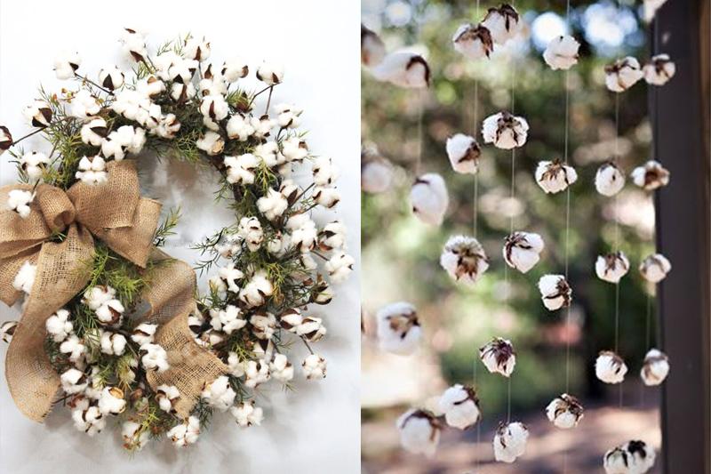 arranjo de flores de algodao