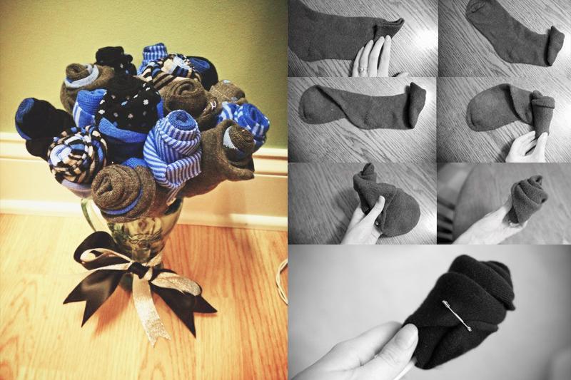 bouquet de meias de algodao