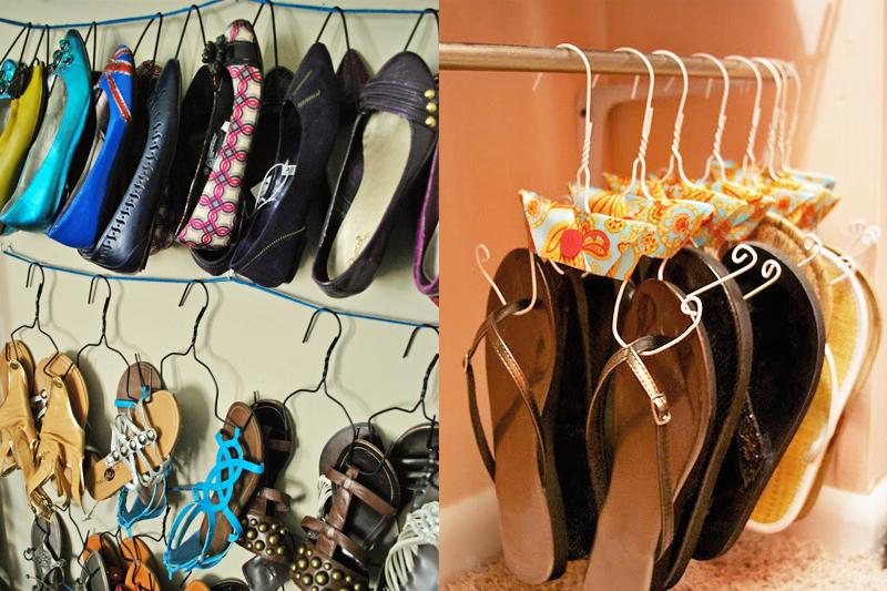 cabides organizar sapatos