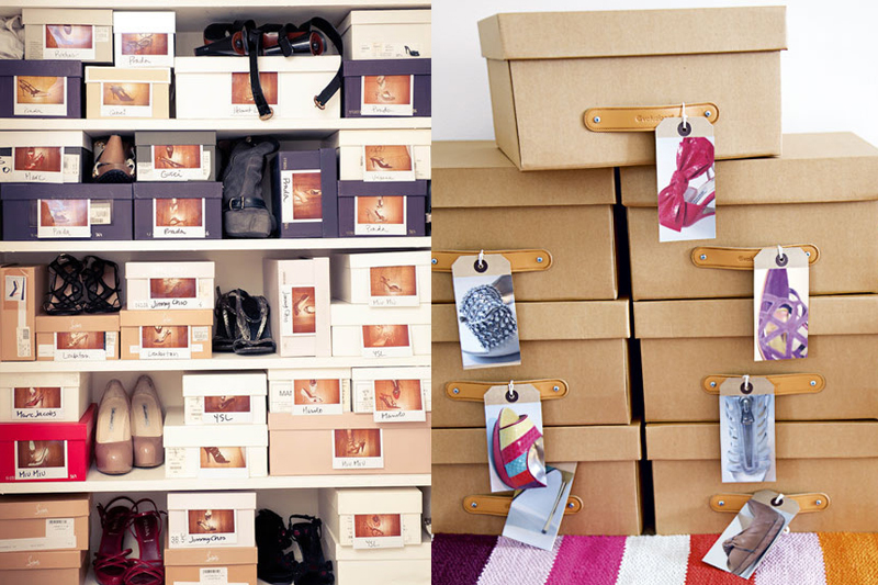 caixas com fotos organizar sapatos