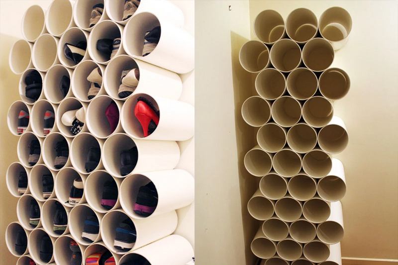 canos de PVC organizar sapatos