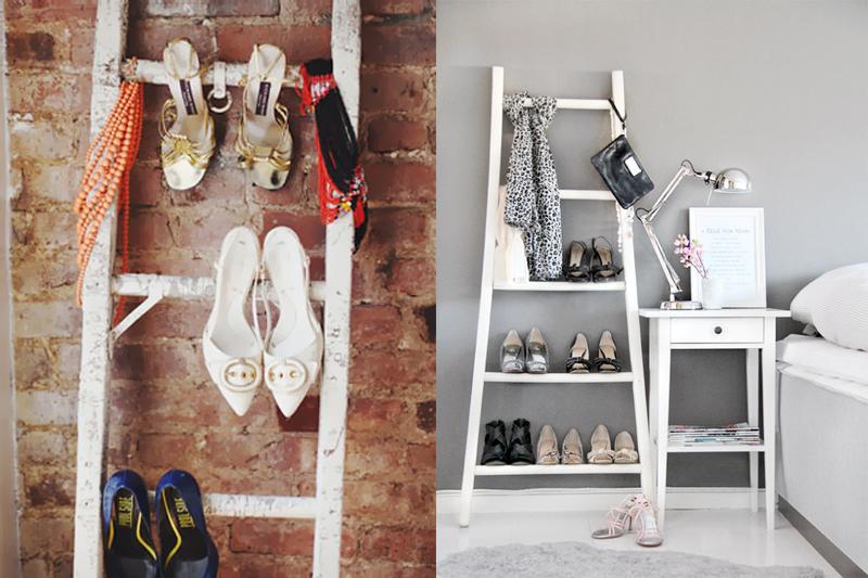 escadas organizar sapatos
