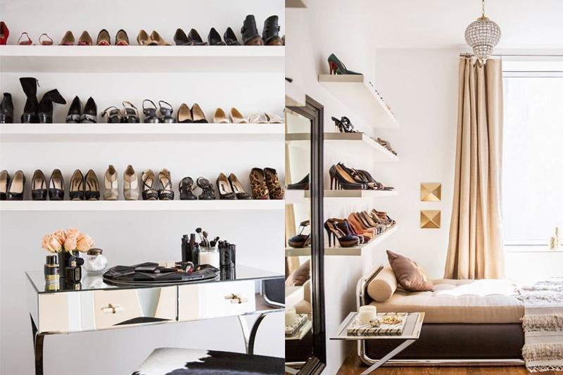 prateleiras invisiveis com sapatos