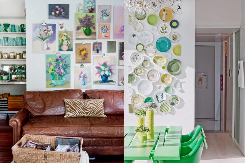decorativos pequenos coloridos na parede