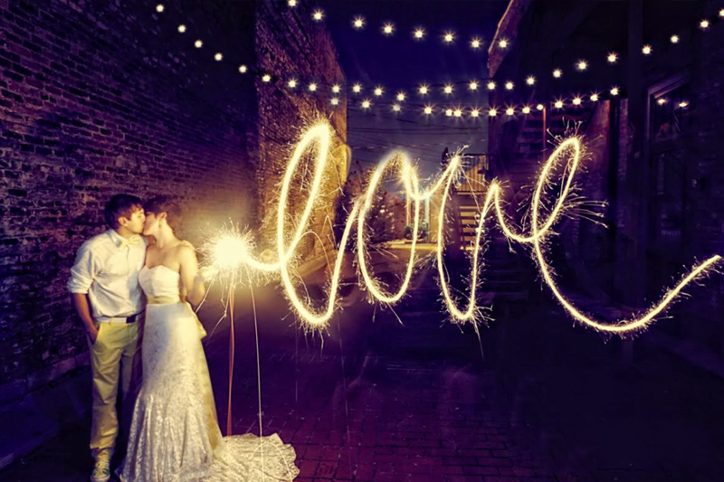 fotos com luz em casamentos