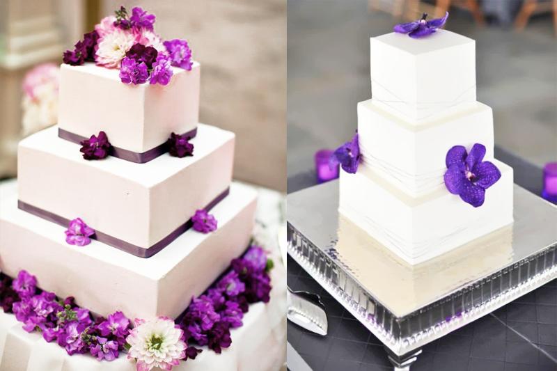 bolos de casamento quadrados decorados com flor