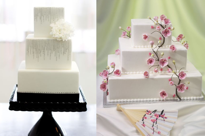 bolos de casamento quadrados e decorados