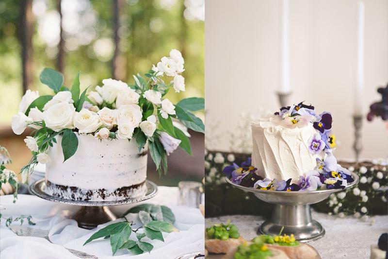 bolos simples e pequenos decorados com flores