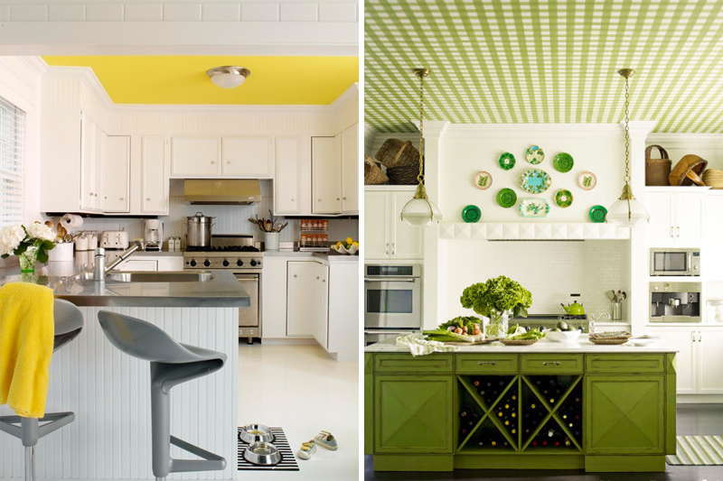 decoracao de cozinha teto colorido