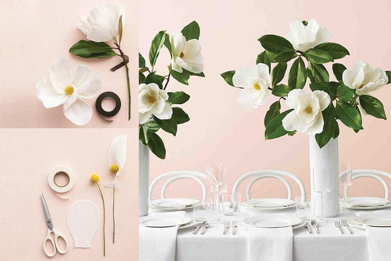 decoracao de mesa de casamento simples flor de papel