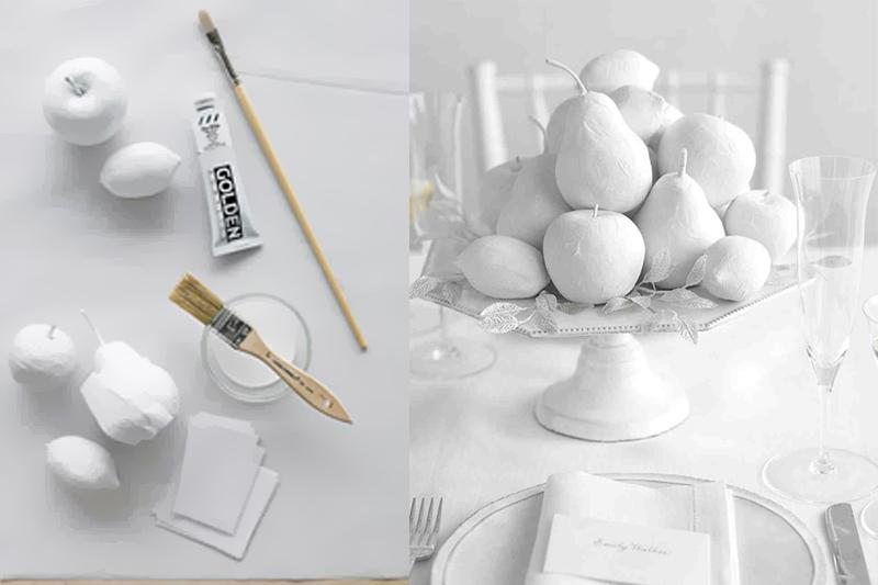 decoracao de mesa de casamento simples frutas de papel mache