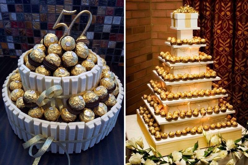 bolo de bodas de ouro com ferrero rocher