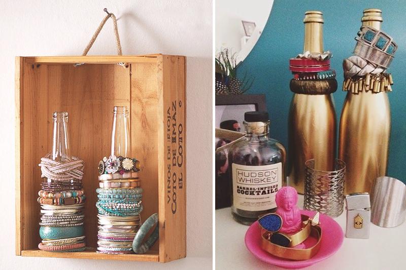 como organizar bijuteria reutilizando garrafas