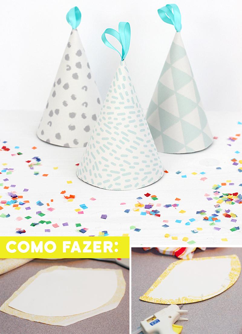 DIY Enfeite de aniversario simples chapeu com tecido