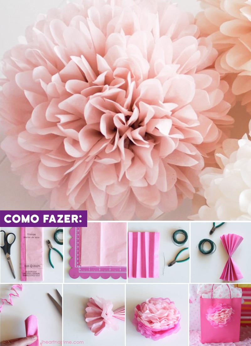 DIY Enfeite de aniversario simples flor de papel de seda