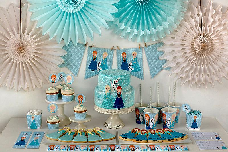 decoracao de festa infantil de Frozen