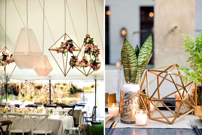 decoracao geometrica metalizada para casamento