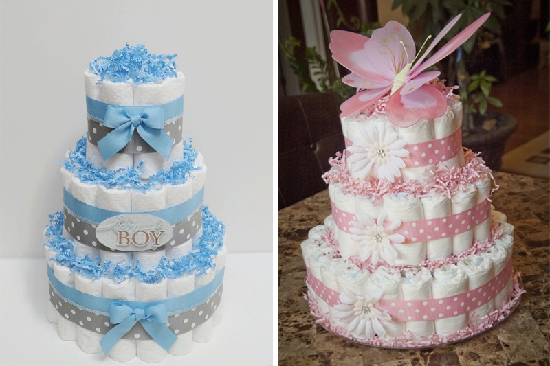 decoracao de cha de bebe bolo de fraldas