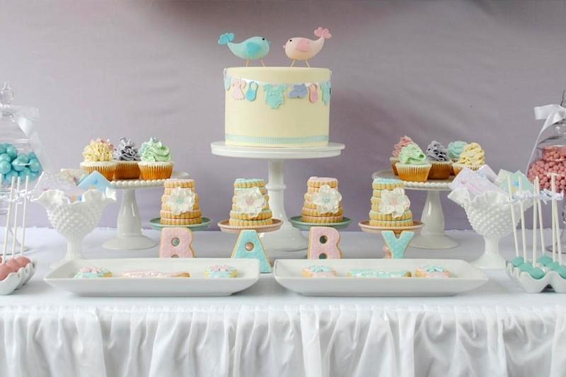 decoracao de cha de bebe tons pasteis