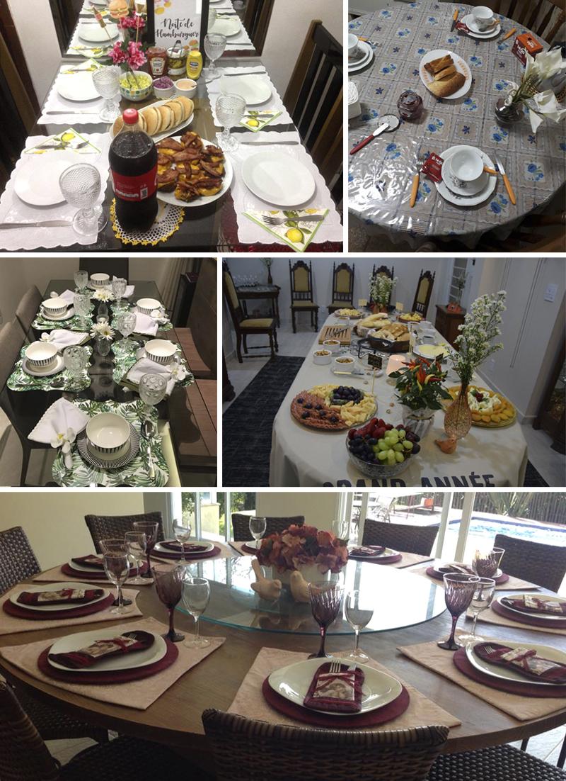 decorações de mesa de alunas do curso receber em casa e etiqueta a mesa