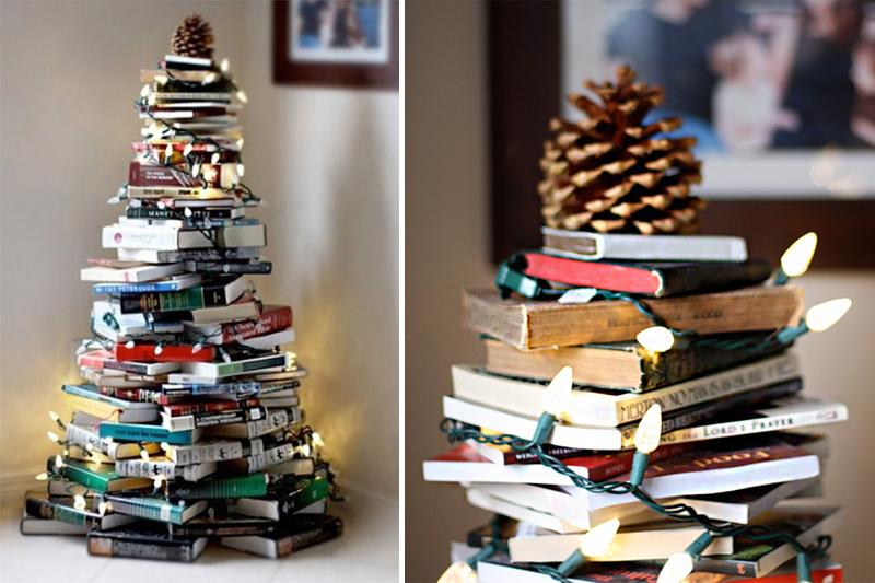 decoracao de natal simples arvore de livros