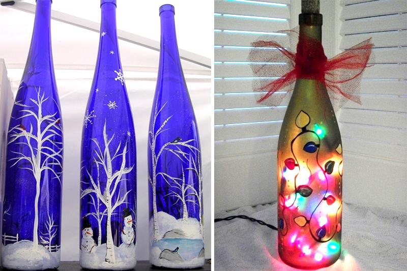 decoracao de natal simples garrafas pintadas