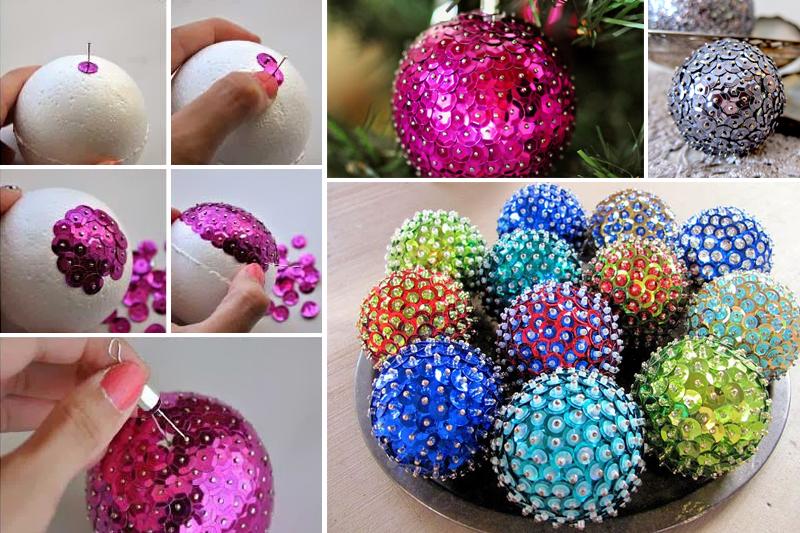 decoracao de natal simples ornamentos com lantejoulas
