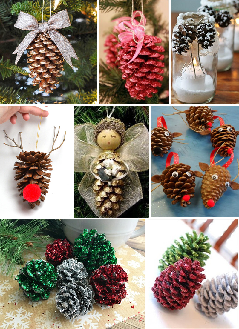 decoracao de natal simples pinhas decoradas