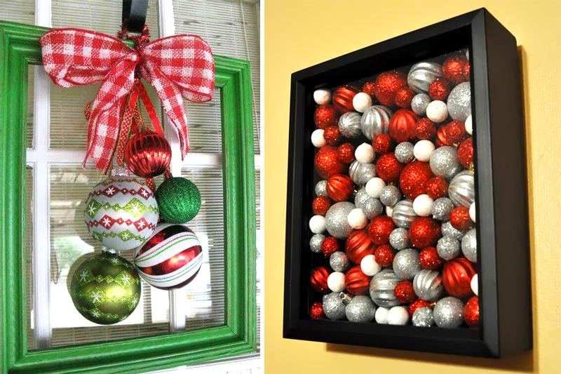 decoracao de natal simples quadros com ornamentos