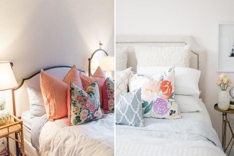 almofadas com estampa floral