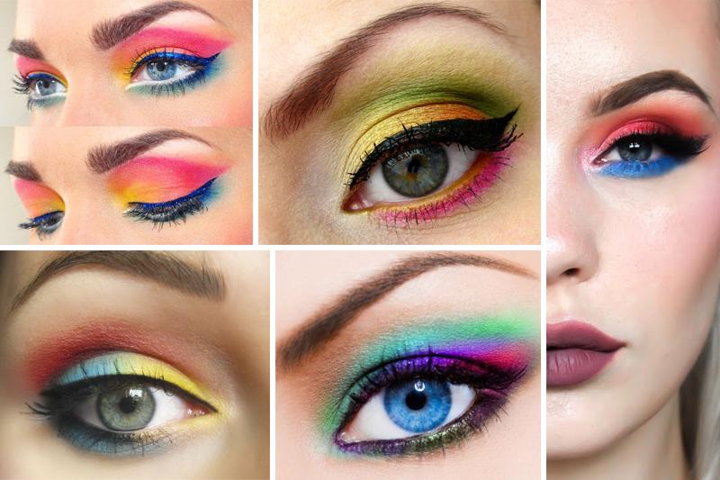 maquiagem para carnaval colorida com cores quentes e frias