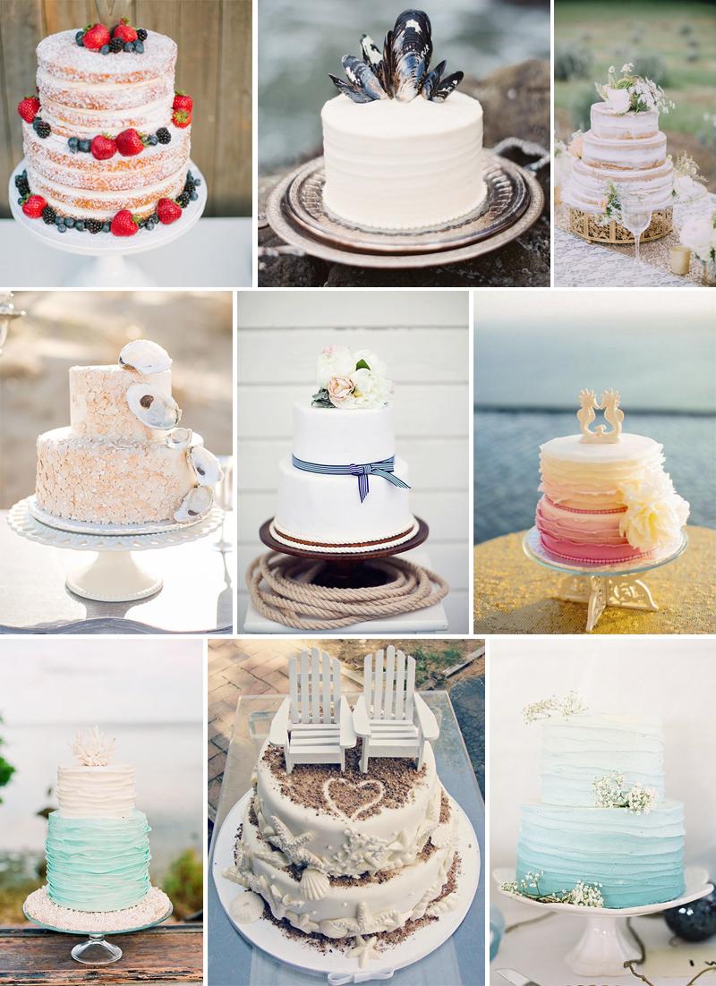 bolo para casamento na praia
