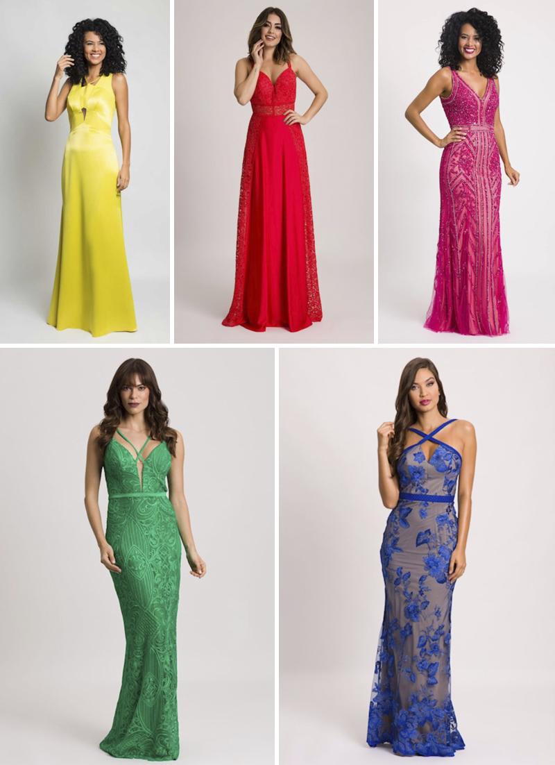 vestidos de festa em cores vibrantes