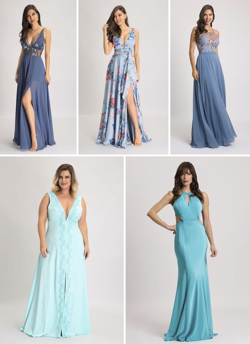 vestidos de festa azuis