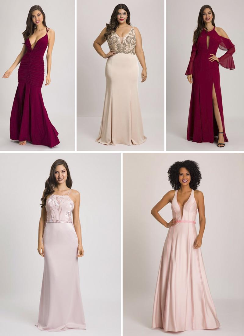 vestidos de festa vinho e rosa