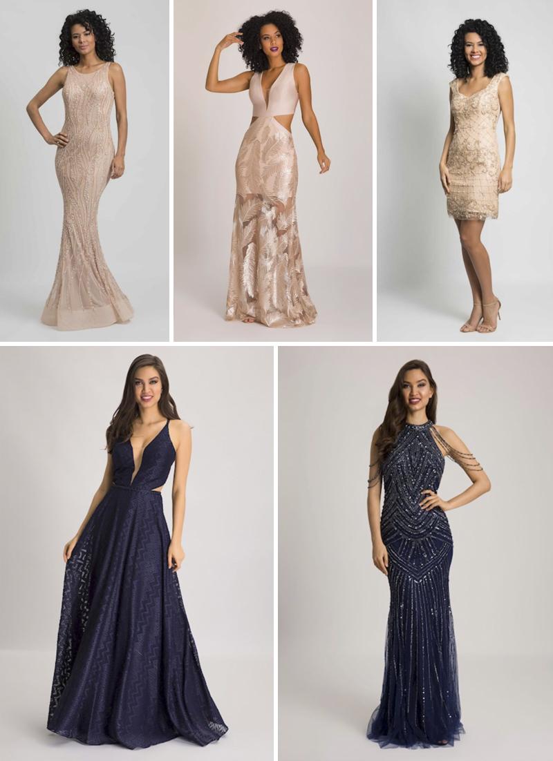 vestidos de festa beges e azuis