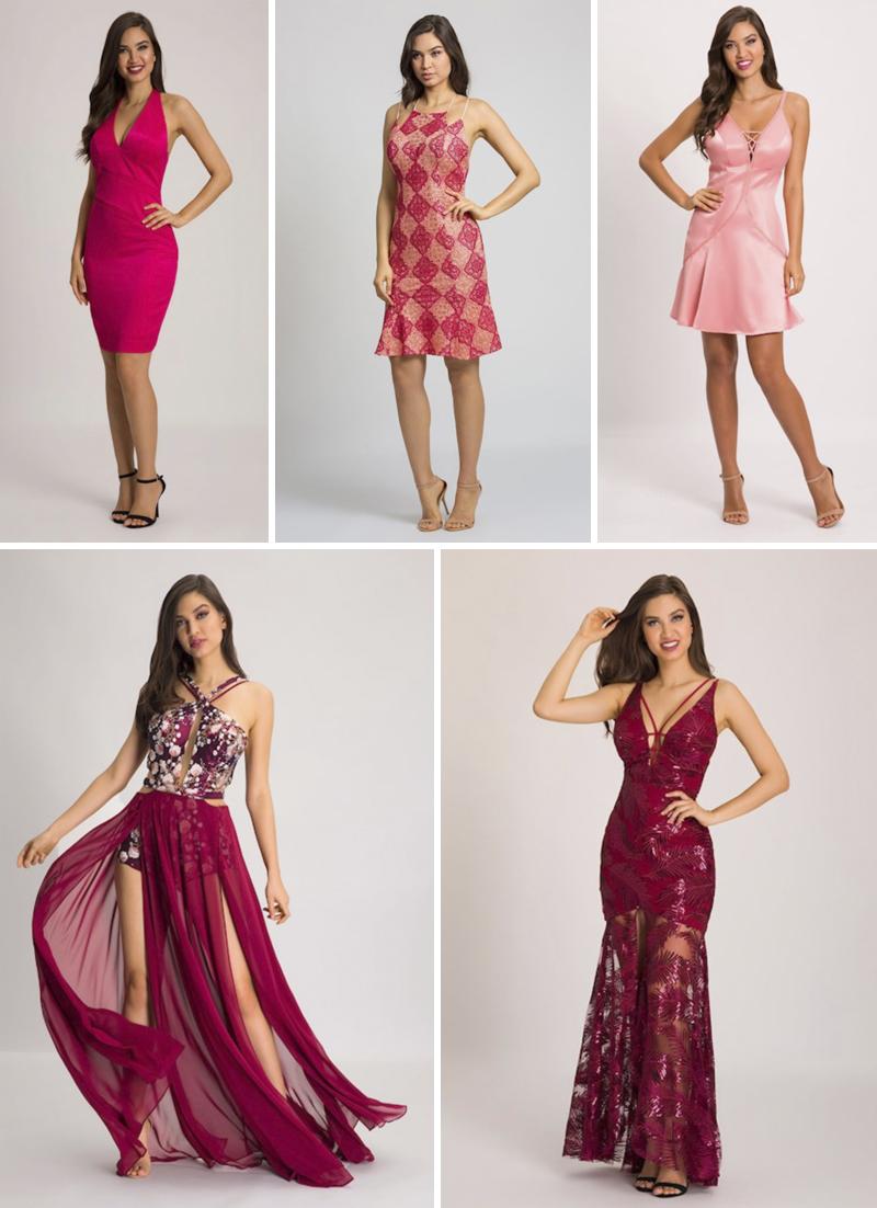 vestidos de festa vermelhos e rosas