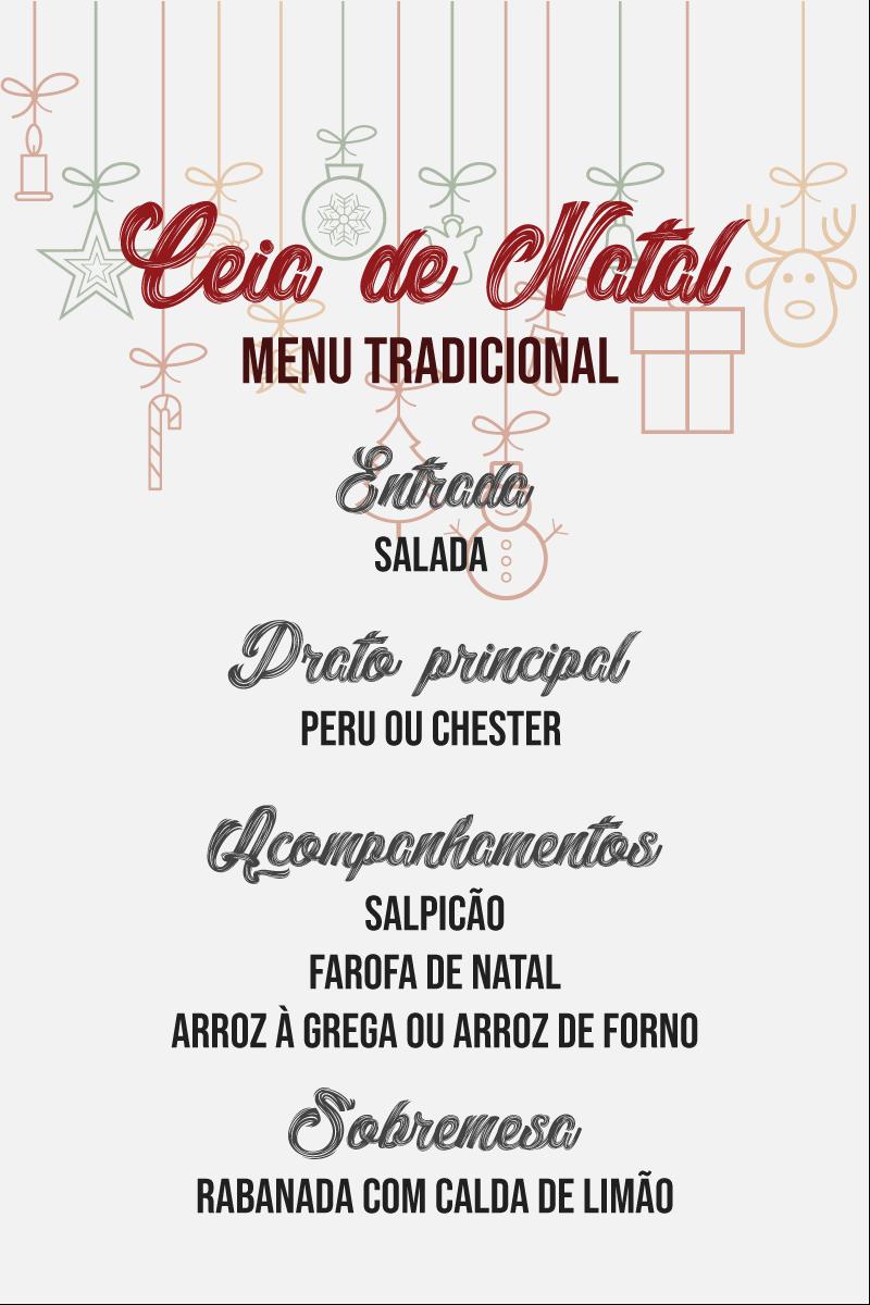 menu completo para ceia de natal tradicional com receitas