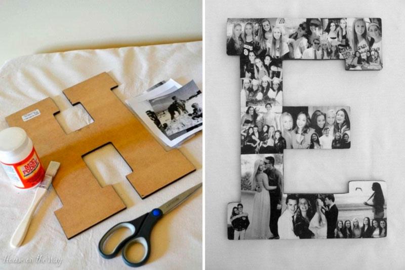 colagem de fotos em letra presente criativo
