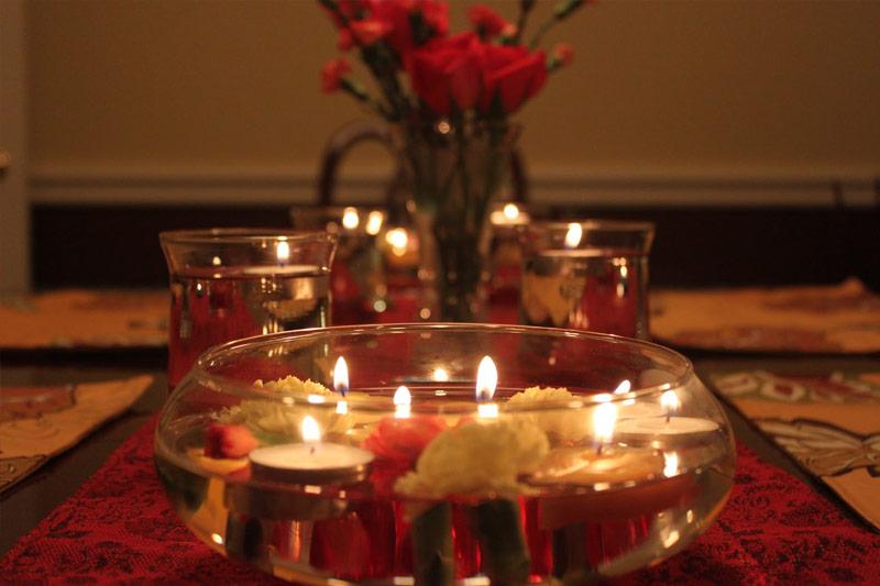 decoração para jantar romântico a luz de velas