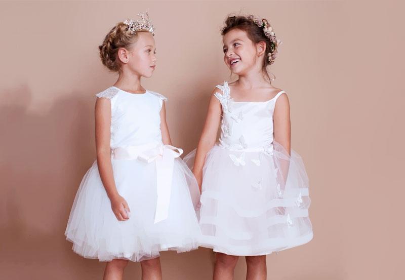 meninas com vestido de festa infantil brancos