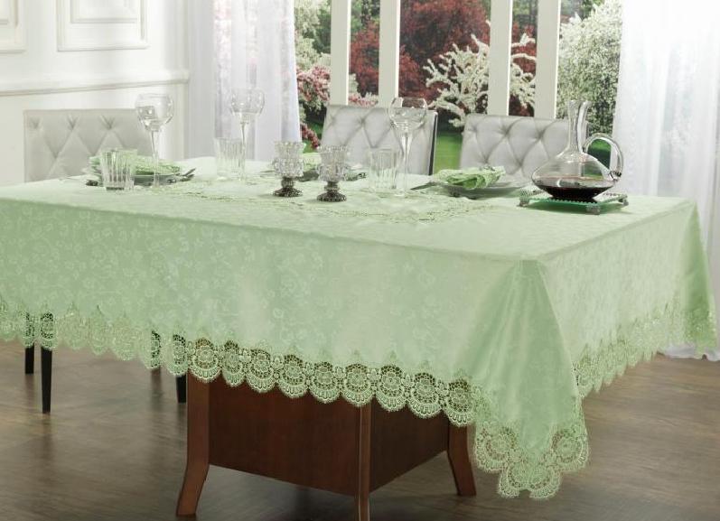 toalha de mesa quadrada e verde