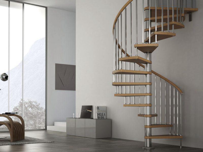 escada madeira e aço